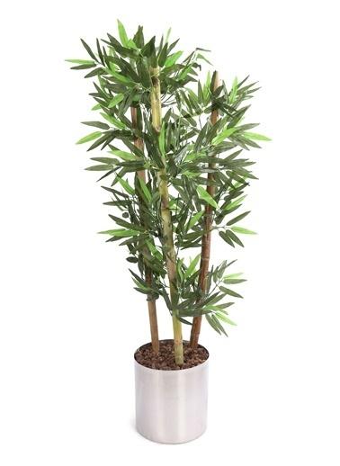 Kibrithane Çiçek Yapay Ağaç Metal Saksıda 3'Lü Bambu 120 Cm Kc00300028 Renkli
